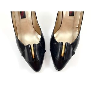 Vintage PROXY black patent leather pumps with gold